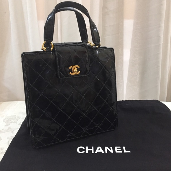 bd1def864e6432 CHANEL Bags | Sold Cc Quilted Patent Leather Tote Bag | Poshmark